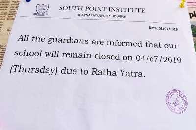 Holiday on Ratha Jatra